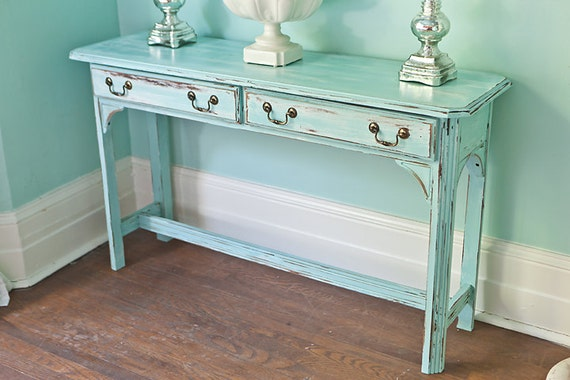 shabby chic sofa table vintage aqua blue distressed beach. Black Bedroom Furniture Sets. Home Design Ideas
