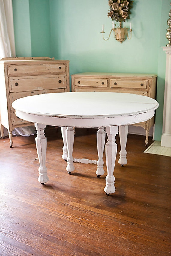 Antique Dining Table Shabby Chic White By VintageChicFurniture
