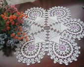 Hand crocheted white, wood violet doily/table center, new