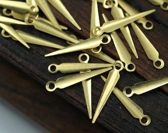 Brass Spike Charms, 250 Raw Brass Spike Charms (17x3mm) (a0266)