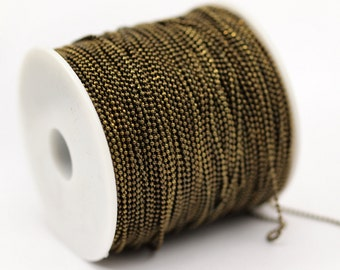 10 Meters - 33 Feet 1.2 Antique Brass Faceted Ball Chain - Z060