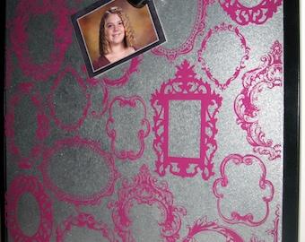Victorian Frames in Magenta .. Magnet Dry Erase Steel Memo Boards // home decor // housewarming gift // wall art // office organizer