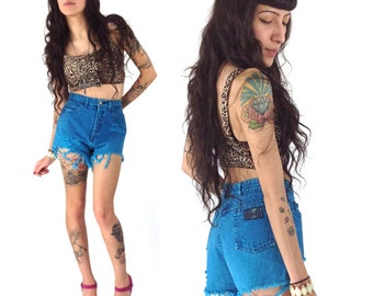 90's High Waisted Denim Teal Cutoffs  XS/S Aqua Acid Wash Shorts Cutoffs