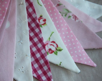 ENGLISH ROSES Banner Pink bunting floral polka dot Fabric Birthday Party Celebration Photo prop Can Be Personalised Custom Made to order