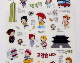 Cute Little Red Haired Girl Plastic Travel Stickers From Korea - Seoul Theme - Tower, Dancing, Shopping, Photography, Cafe, Coffee