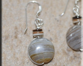 Grey Stripe Agate Earrings