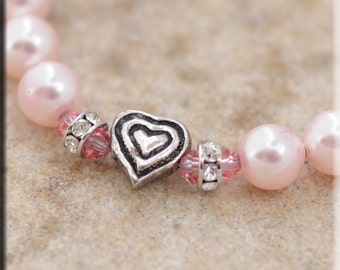 Pink Pearls and Heart Pet Necklace