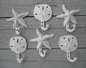 sand dollar hooks, starfish hooks, 9 cast iron hangers, nautical decor, home organization in colors you choose