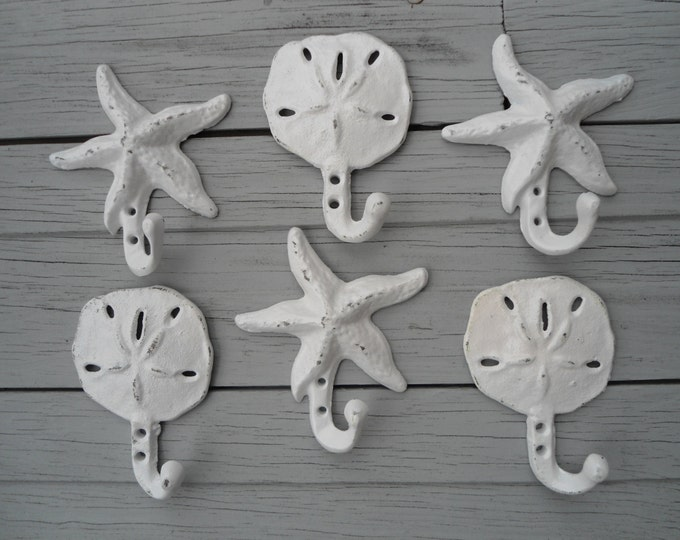 sand dollar hooks, starfish hooks, 9 cast iron hangers, nautical decor, home organization in colors you choose