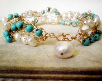 Crochet bridal gold bracelet, turquoise and pearls, weddings jewelry