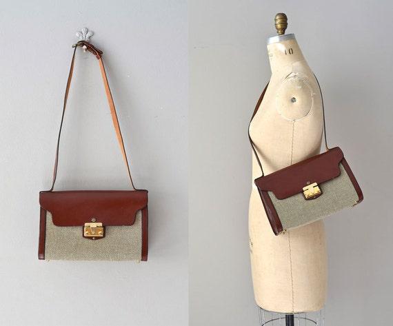 John Romain bag / 60s tweed and leather bag / 1960s purse