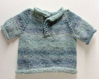 "Pullover baby sweater- ''Ocean Waves"" short sleeves, hand knit, single button,12-16 month size"
