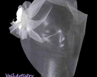 Bridal Veil, Birdcage Veil, Bandeau Birdcage Veil, Orchid Flower Veil, Vintage Look Veil, Blusher Veil, Custom Bridal Veil, Handmade Veil