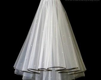 Bridal Veil,Radiance Veil,2-Tier Veil,Contrast Satin Ribbon Edge,Black Ribbon Veil,Swarovski Crystal Veil,Made-to-Order Veil,Bespoke Veil