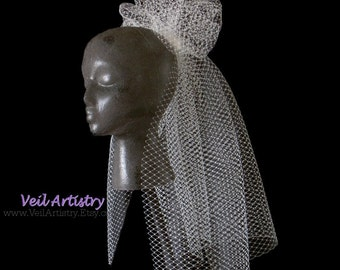 Short Bridal Veil, Classic Veil, Pouf Veil, French Net Veil, Shoulder Veil, Made-to-Order Veil, Handmade Veil, Vintage Inspired Veil