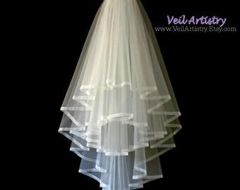 Wedding Veil, Radiance Veil, Fingertip Veil, 4 Tier Veil, Sheer Ribbon Edge Veil, Boho Veil, Handmade Veil, Bespoke Veil