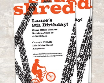 PRINT & SHIP BMX Bike Birthday Party Invitations (set of 12) >> personalized and shipped to you | Paper and Cake