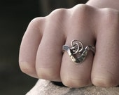 Unique  sterling silver ring, Organic chunky hand forged ring with knotted wire silver ring