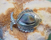 Vintage Taxco Mexico Sterling Fish Brooch / Pin Abalone Shell 925 Silver Signed 13t111