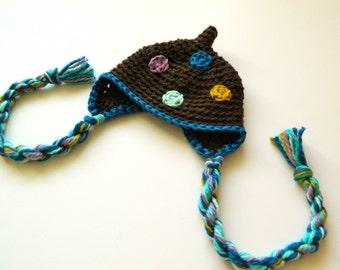 SALE Organic Cotton Newborn Baby Polka Dot Hat Girl Boy 3 months Earflap Crochet
