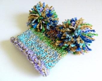 SALE Baby Girl Pom Pom Knit Hat Handknit blue purple green 6 9 12 18 24 months 1 2 years