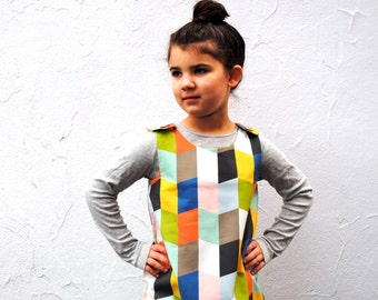 The Mabel Dress - Organic Girls Dress in Geometric Diamonds - Autumn School Pinafore Dress for Modern Kids