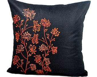 Flower Pillow Cover, Black Linen Orange Ixora Flower Embroidery, Decorative Throw Pillow Cover, Home Decor, Couch Pillow, Floral  Cushion
