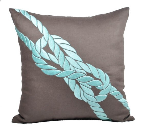 Pillow Cover, Decorative Throw Pillow Cover, Turquoise Pillow, Nautical Pillow,Taupe Brown Linen ...