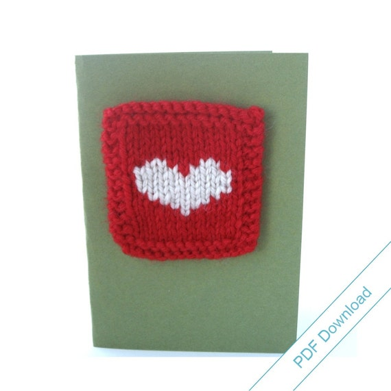 Knitted Valentine Cards Pattern PDF. Knit Your Own Cards. Heart, Gift, Tree, and Snowflake Designs
