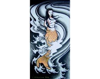 Koi Fish Mermaid - painting on canvas