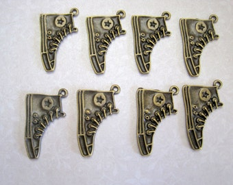 Bronze All Star Converse Sneaker Charms - Set of 10 - 31x20mm