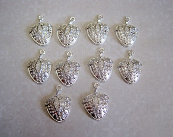Tibetan Silver Strawberry Charms - Set of 10 - 24x17mm