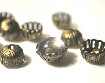Beadcap BRASS Antique Gold plated findings 10mm filigree wrap