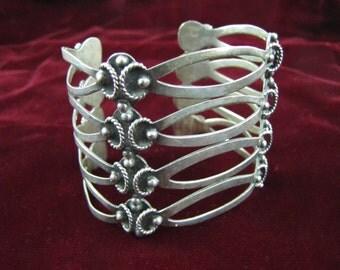 Marked ASM Vintage Mexican Silver Cuff - Elegant