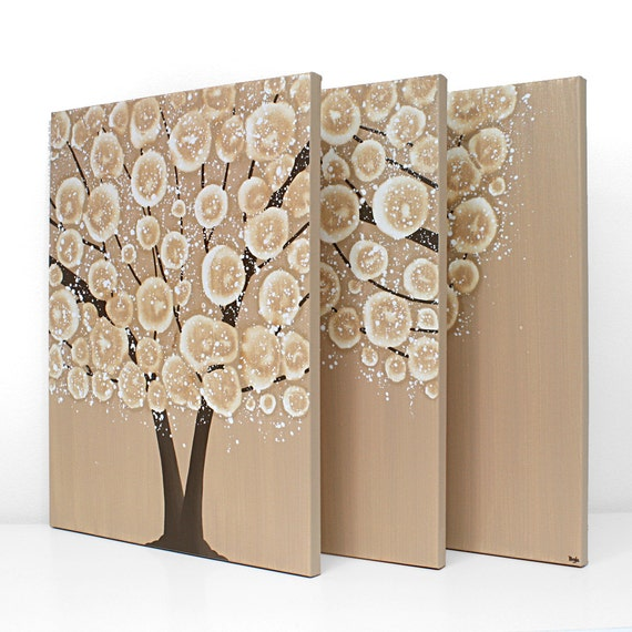 Large Canvas Art - Tree Painting Triptych Wall Art 50X20