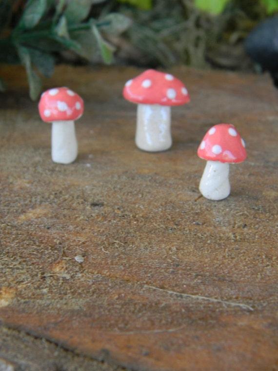 3 mushroom miniatures 3 coral Pink  Poison.. ..  terrarium or miniature gardens pottery ceramic