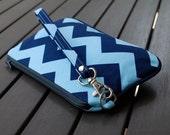 Wristlet Bag / Wristlet Clutch / Purse / Pouch Wristlet / Bag - PIPER WRISTLET - Chevron Light Blue Navy Blue