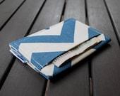 Business Card Case / Card Cash Case / Business Card Holder / Credit Card Case - VERT II - Chevron Blue Natural