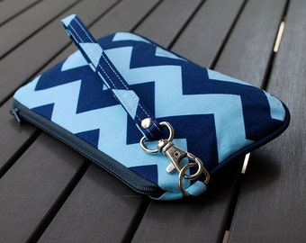 Wristlet Bag / Wristlet Clutch / Purse / Pouch Wristlet / Bag - PIPER WRISTLET - Chevron Light Blue Navy Blue
