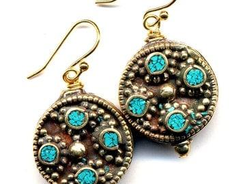Nepal Earrings, Tibet Turquoise Earrings, Nepal Beads on 18 K Gold Filled Wire, Nepal Jewelry by AnnaArt72
