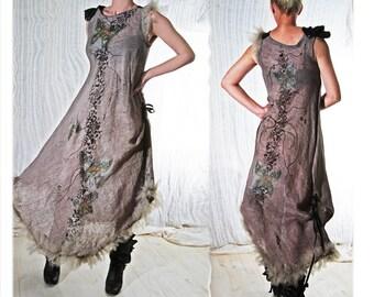 Linen Dress Butterfly handmade Summer tribal fashion couture art wear - Botticelli painting