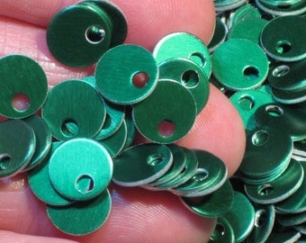 "100 Or More 3/8"" Green Anodized Aluminum Mini Discs Tags Small Flat Sequins Beads Bright Emerald Christmas Green Lightweight Stamping Blanks"