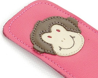 Leather Bookmark with Monkey Design, Fuchsia