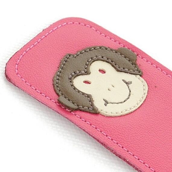 Leather Bookmark with Monkey Design, Fuchsia