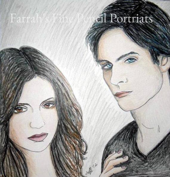 Articles similaires le vampire diaries damon et elena dessin au crayon de couleur sur etsy - Dessin vampire diaries ...
