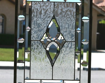 PRISMS - Large Traditional Clear Stained Glass Window Panel, Clear Bevels, Clear Bevel Cluster, Double Clear Beveled Border, Prisms
