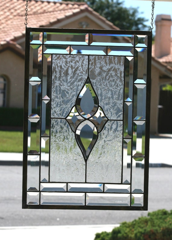 Clear Leaded Glass : Prisms large traditional clear stained glass by gallerydelsol