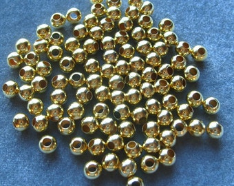 100 Gold Plated Spacer Beads 8mm with 3.5mm Hole Findings (598)