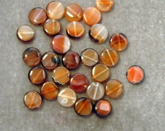 Full Strand Natural Translucent Brown Agate Coins 13 mm Gemstones (84)