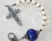 Hand Carved Flower Beads with Blue Lampwork Single Decade Catholic Rosary